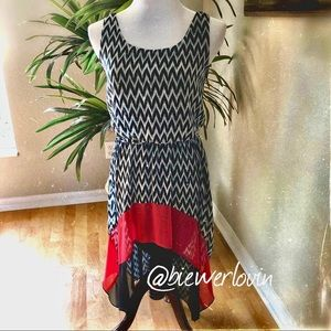 Dresses & Skirts - HI - LOW BLACK & WHITE W/ RED CONTRAST DRESS